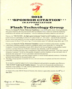 Image: 2013 Sponsor Citation from Joanna M. Nicolay Melanoma Foundation